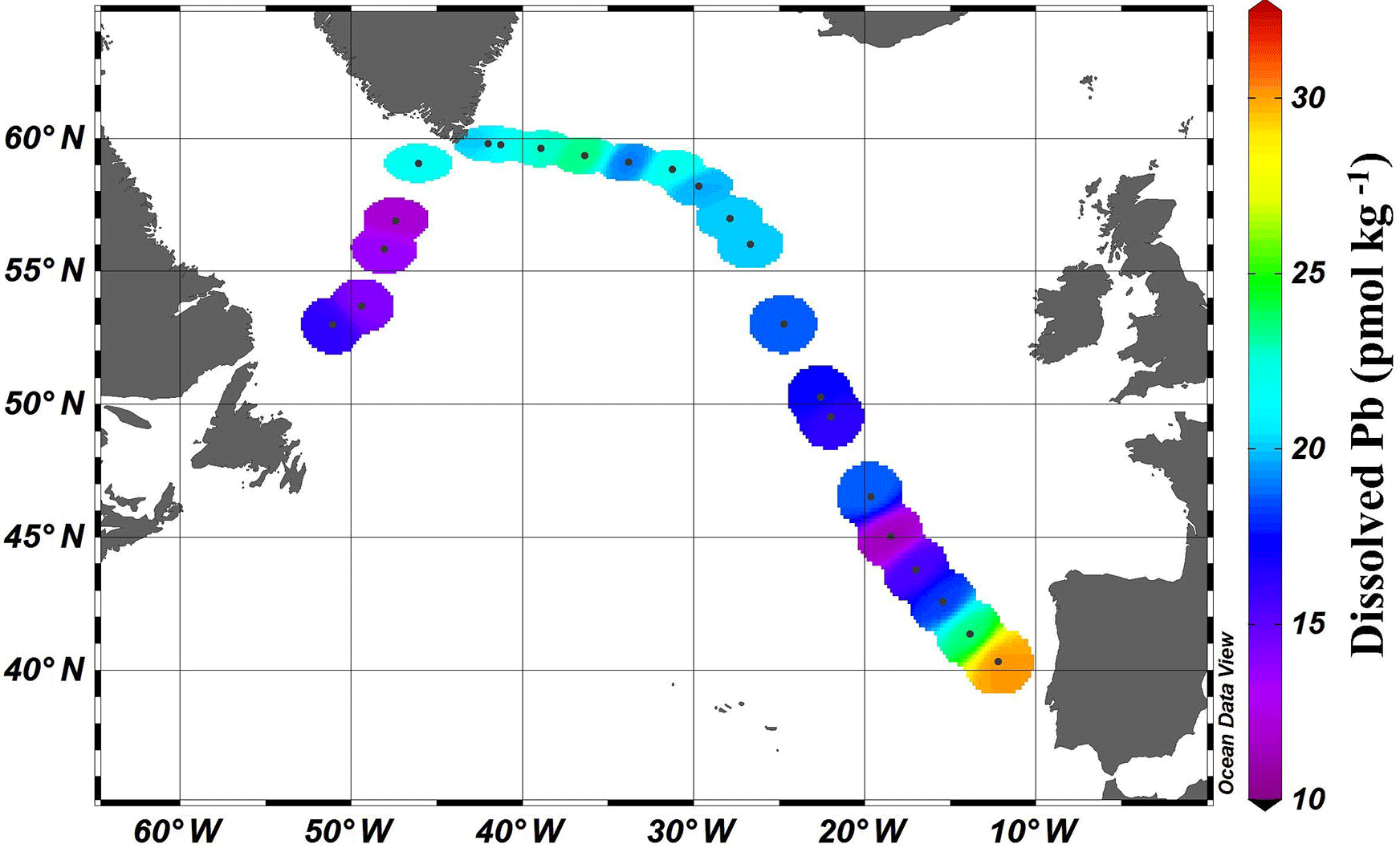 BG - Dissolved Pb and Pb isotopes in the North Atlantic from